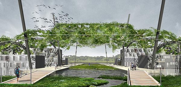 Projet EPIPLEO : construire une structure d�accueil pour une communaut� urbaine flottante, et permettre aussi la reconnexion des villes avec leurs fleuves.